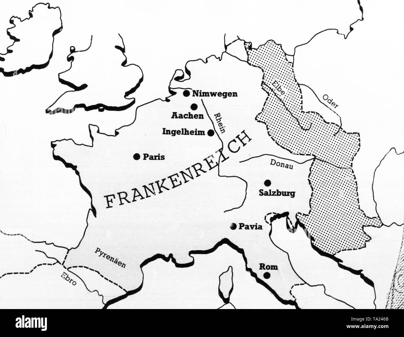 Under Charles the Great the Franconian Empire rose to one of the world powers. The dotted area indicates the tributary areas of Slavic tribes. Under Charlemagne, the entire empire, has an extension of 1.3 mil. square kilometre. - Stock Image