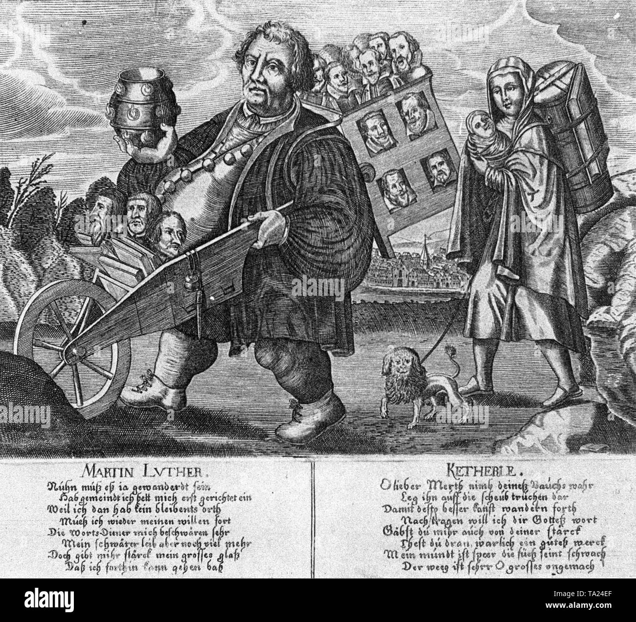 The caricature of Martin Luther and his wife Katharina von Bora ridicules the defeat of Protestantism and the expulsion of the Protestant preachers from Bohemia after the Battle of White Mountain in 1620. - Stock Image
