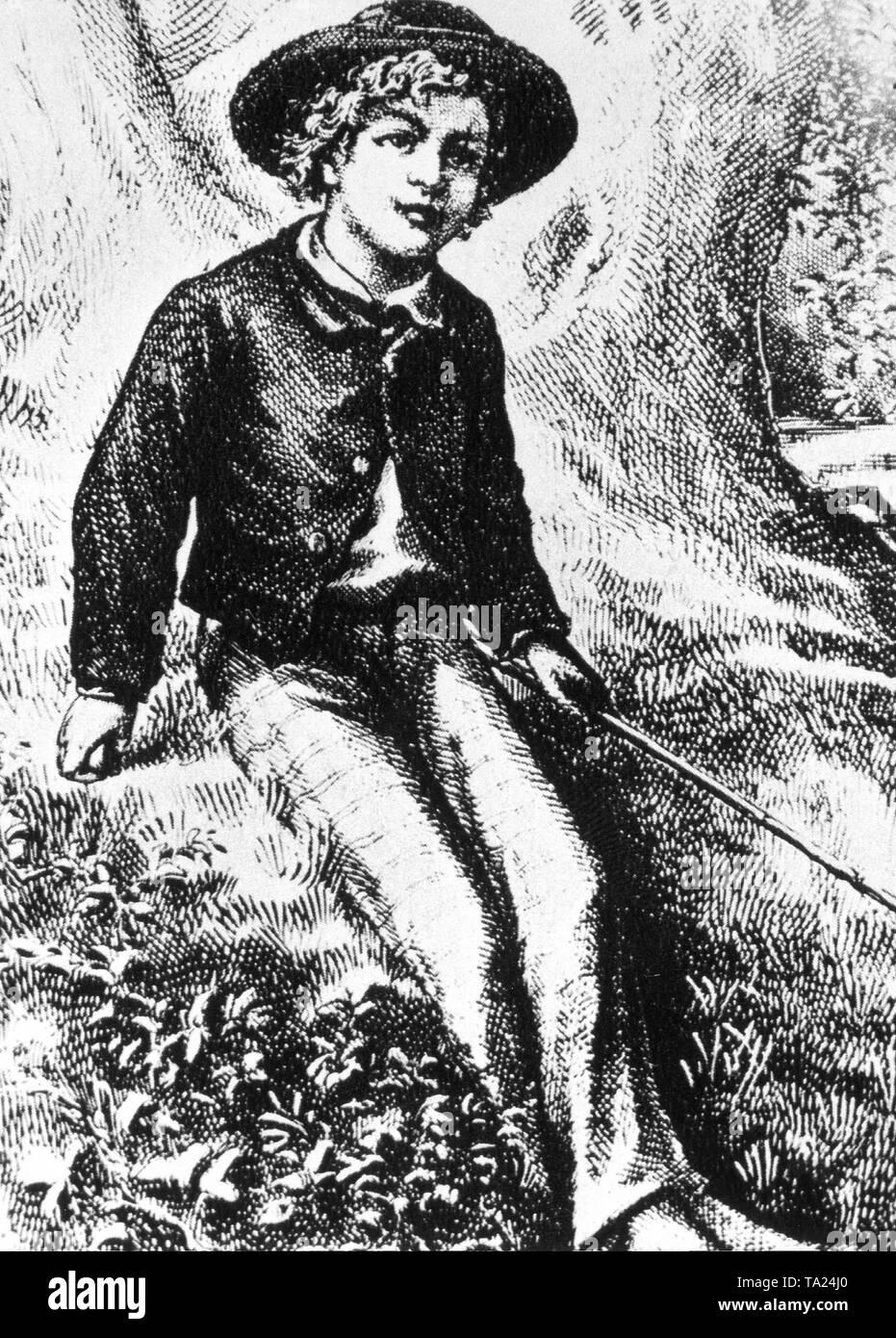 Fictional character Huckleberry Finn by Mark Twain (1835-1910). Stock Photo