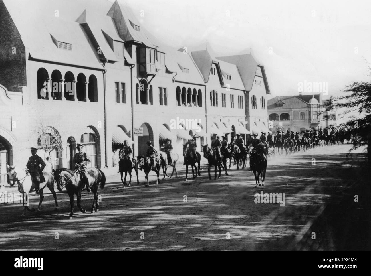 The German Schutztruppe in German South West Africa on horseback in the 1st World War. - Stock Image