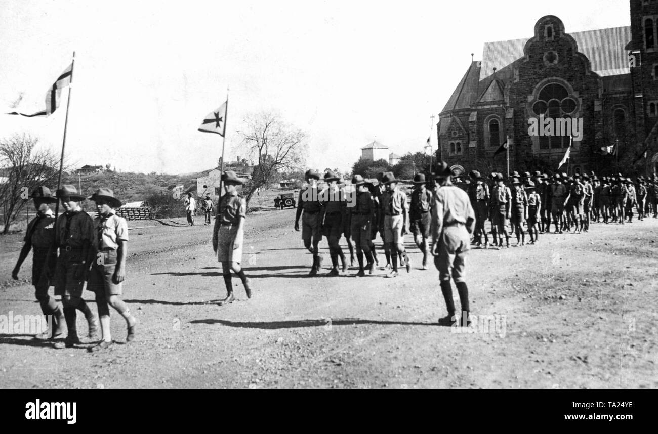 German scout ceremony in Windhoek, German South West Africa. - Stock Image