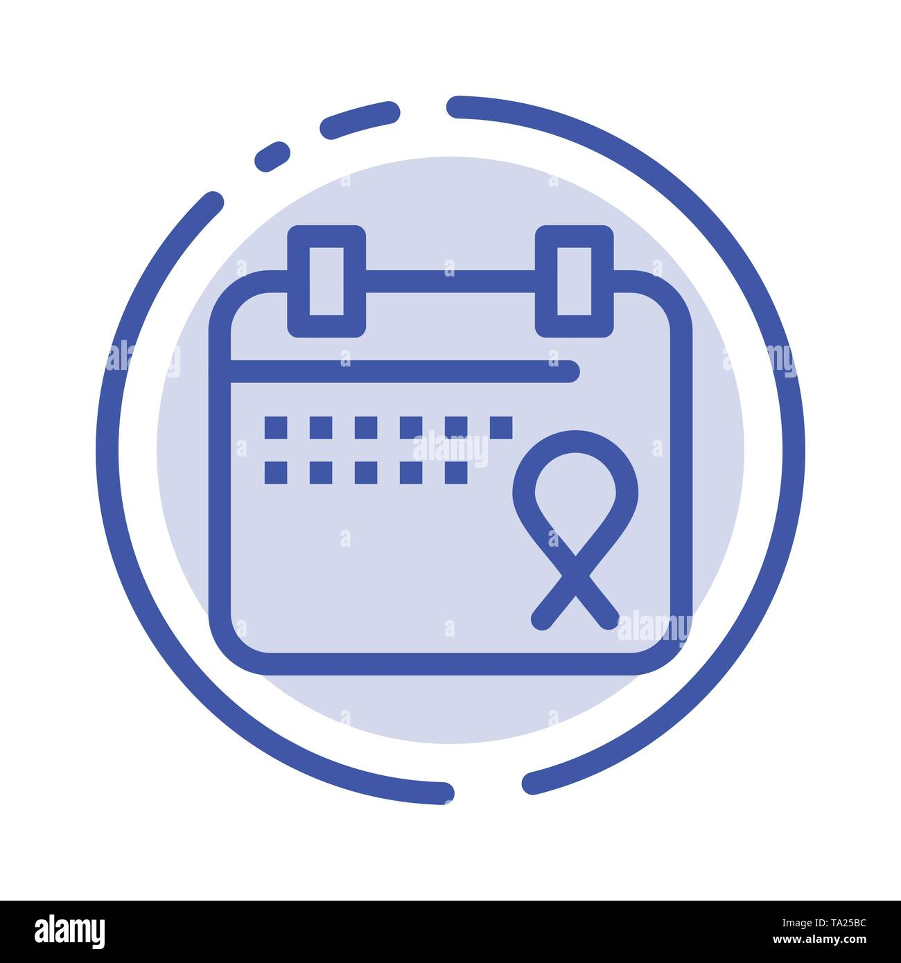 Calendar, Love, Operation, Date Blue Dotted Line Line Icon - Stock Image