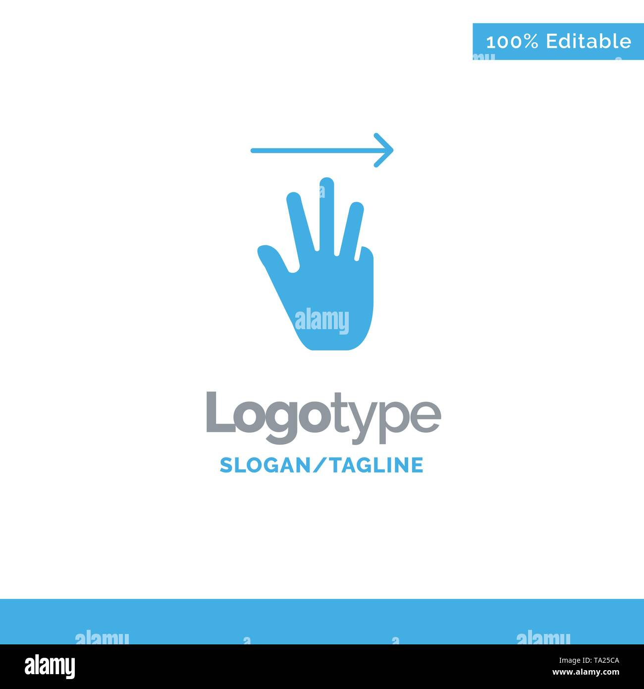 Hand, Hand Cursor, Up, Right Blue Solid Logo Template. Place for Tagline - Stock Image