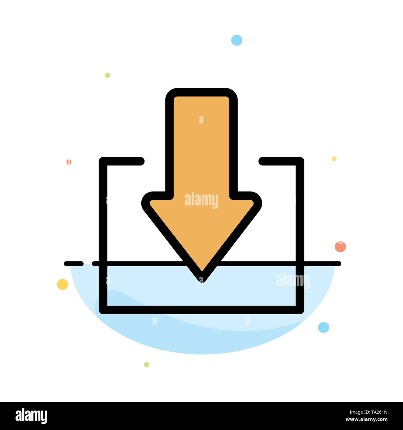 Arrow, Down, Download Abstract Flat Color Icon Template - Stock Image