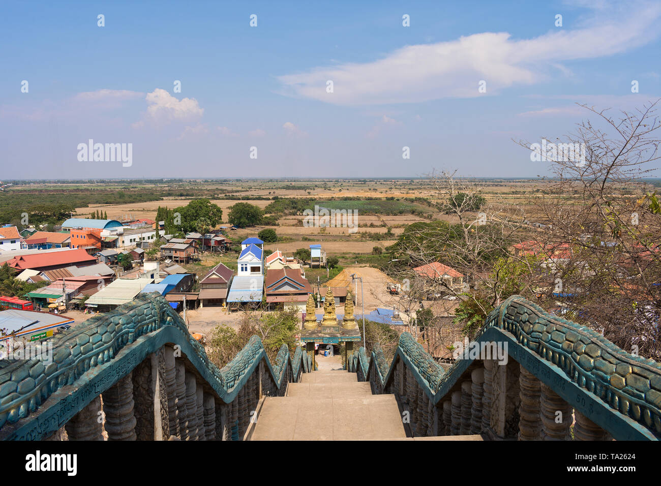Scenic View from Phnom Krom Temple, Siem Reap, Cambodia - Stock Image