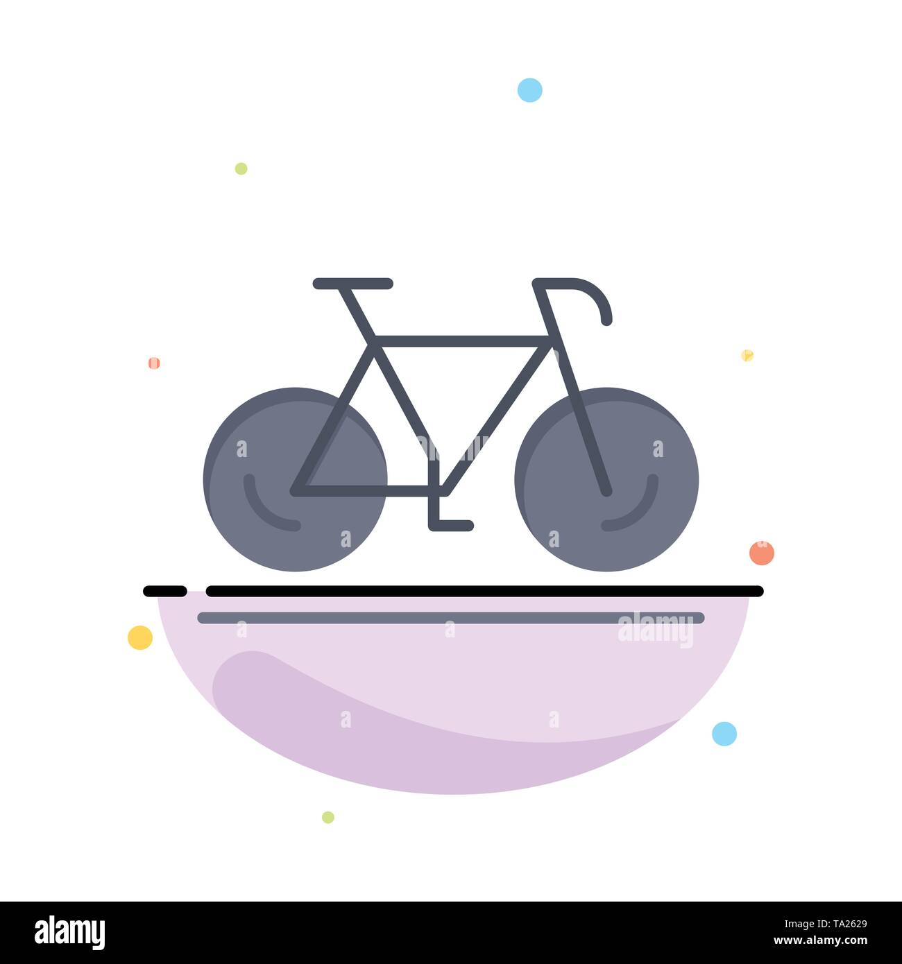Bicycle, Movement, Walk, Sport Abstract Flat Color Icon Template - Stock Image