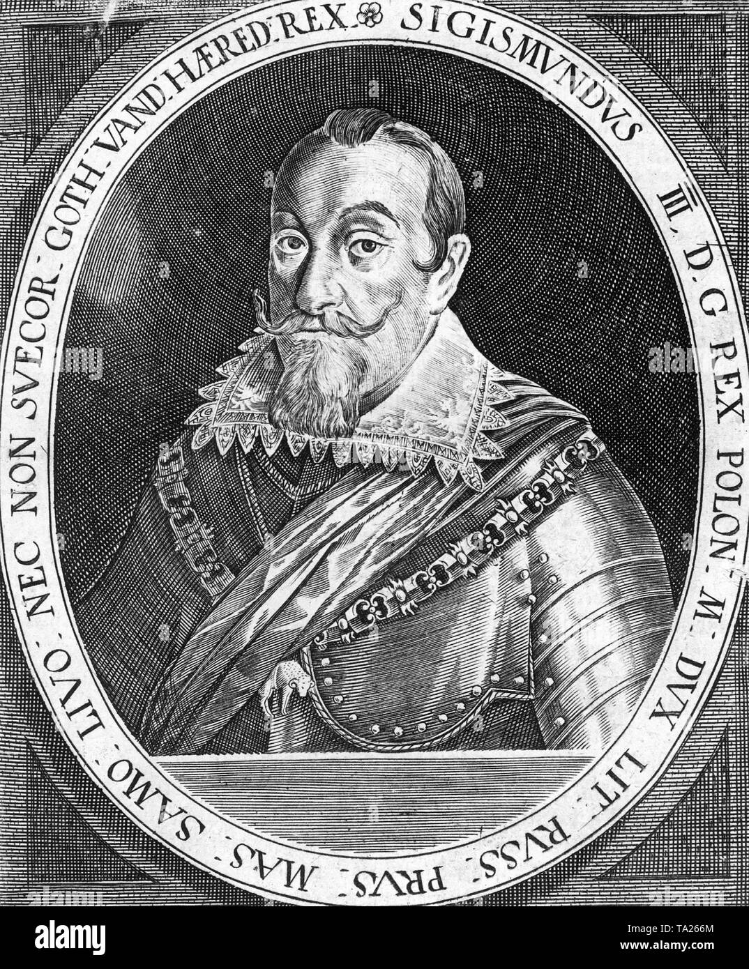 Sigismund III Vasa (1566-1632), King of Poland (1587-1632) and Sweden (1592-1604). In 1604 he lost the throne of Sweden in favor of his uncle, Charles IX. In 1629 he had to cede large parts of northern Poland to Gustav II Adolf, the son of Charles IX. His attempts to conquer parts of Russia taking advantage of the Russian civil unrests failed. He supported the Counter-Reformation. - Stock Image