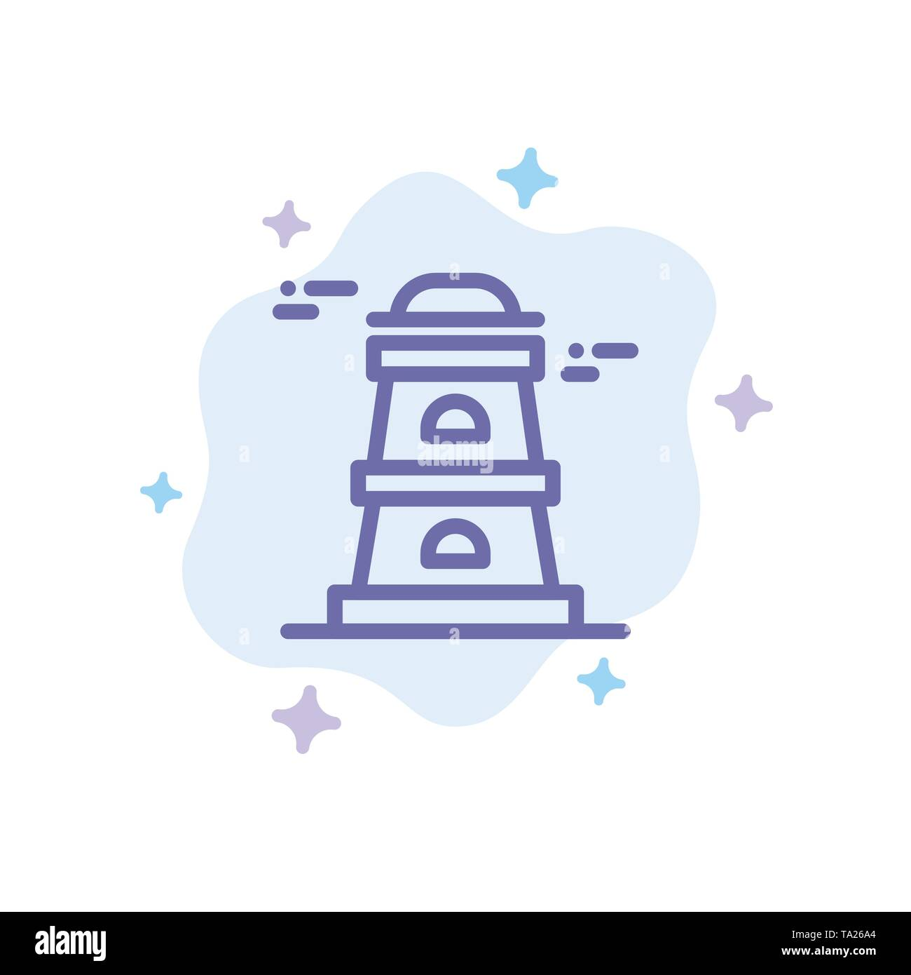 Observatory, Tower, Watchtower Blue Icon on Abstract Cloud Background - Stock Image