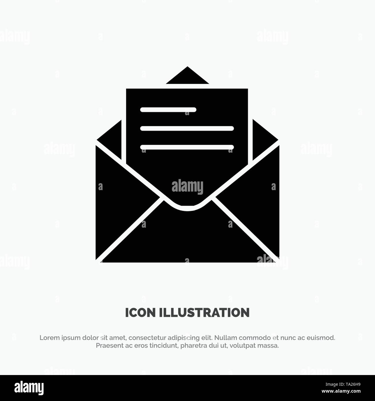 Email, Mail, Message, Text solid Glyph Icon vector - Stock Image