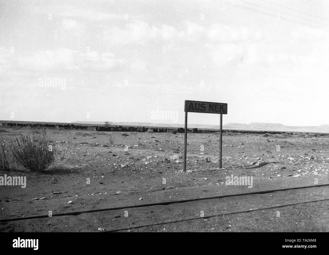 In the background are the ruins of the former POW camp. After the signing of the truce of Korab on 09.07.1915 between the Boer General Botha, the Governor of Windhoek Seitz and Lieutenant Colonel Franke about 4000 German soldiers and officers were imprisoned. - Stock Image