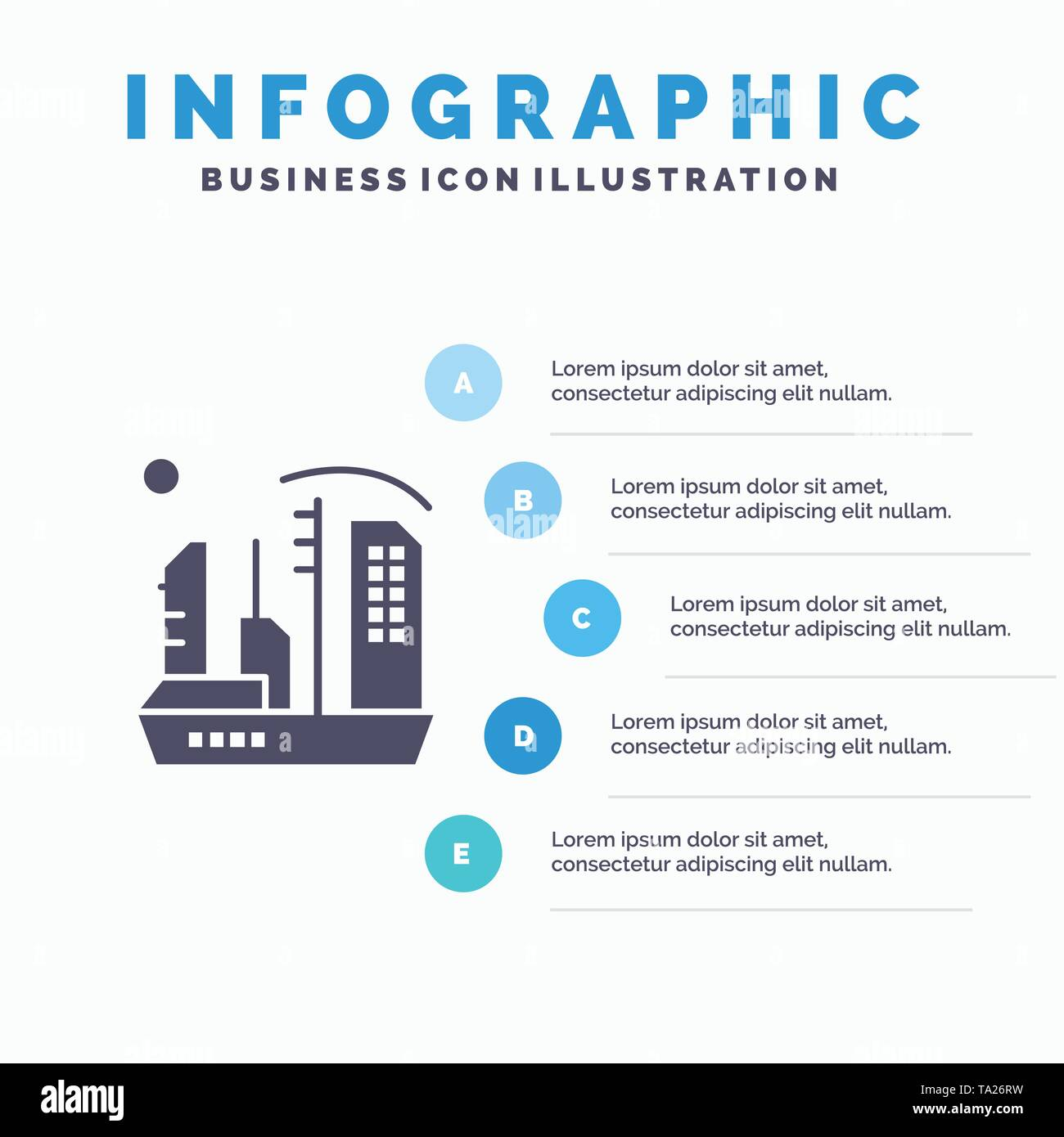 City, Colonization, Colony, Dome, Expansion Solid Icon Infographics 5 Steps Presentation Background - Stock Image