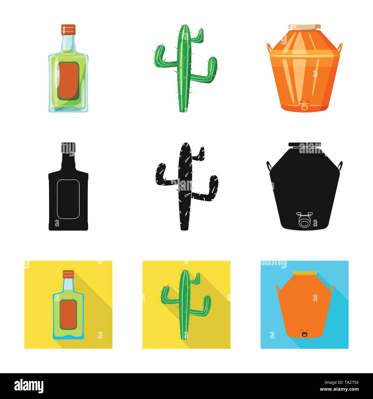 Vector illustration of cafe and Latin icon. Set of cafe and national stock symbol for web. - Stock Image