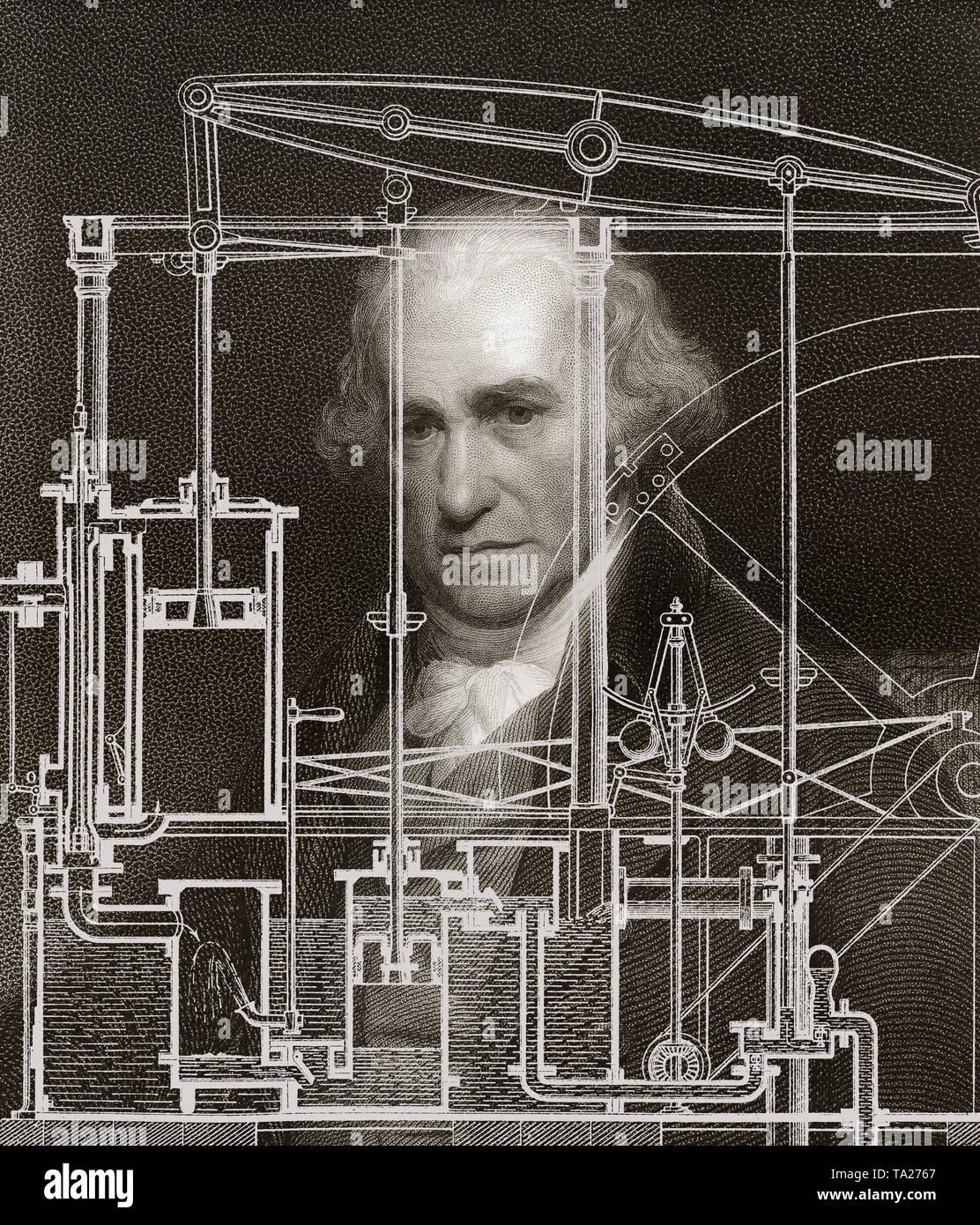 Piston heat engine by James Watt, 1736 - 1819, Scottish inventor of the steam engine - Stock Image