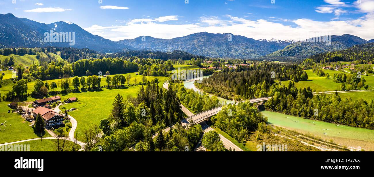 Isartal Karwendel mountains, Isar river, Bavaria Germany Aerial Stock Photo