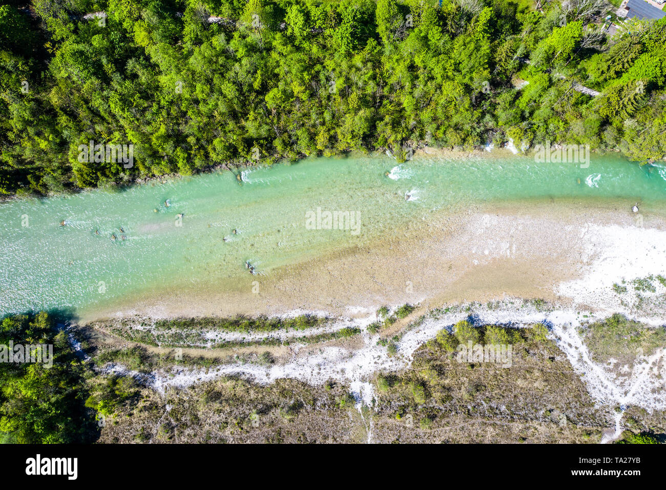 Aerial Isar River and Forest Bavaria Brauneck Alps - Stock Image