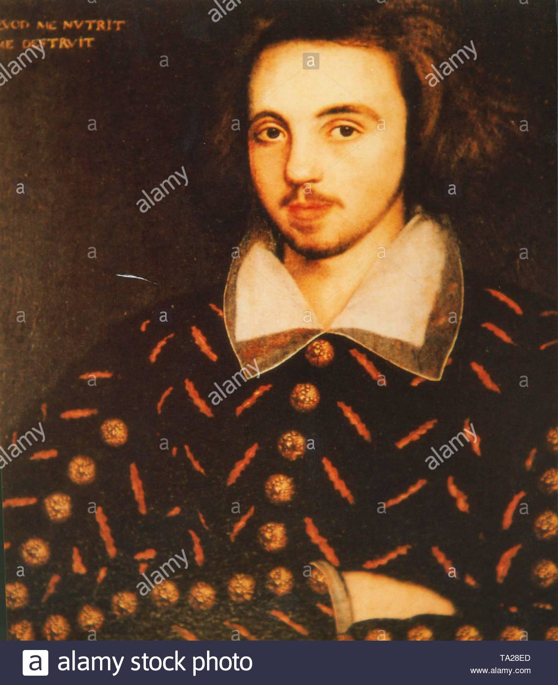 Christopher Marlowe, English stage poet, writer and playwright. He was born in Canterbury on 6.2. 1564, died in Deptford (London today) 30.5. In 1593, he wrote blank verse tragedies which treat the fate of titanic characters in solemn language: Tamburlaine the Great (first performed in 1587), Doctor Faustus (world premiere in 1588 or 1592, only preserved in fragments), The Jew of Malta (1590), Edward II (c. 1592). - Stock Image