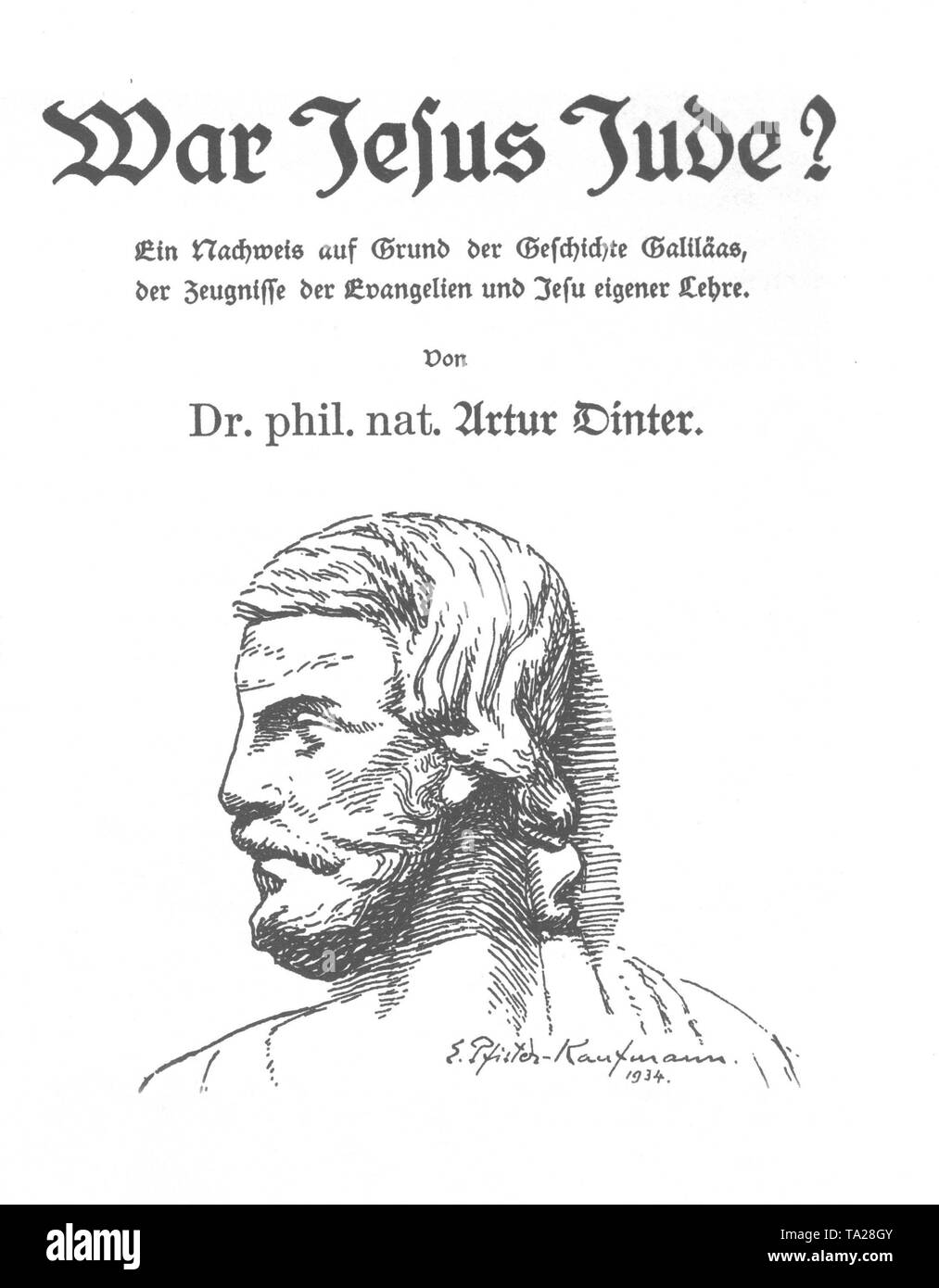 Title page of the book 'Was Christ a Jew?' by author Artur Dinter - Stock Image