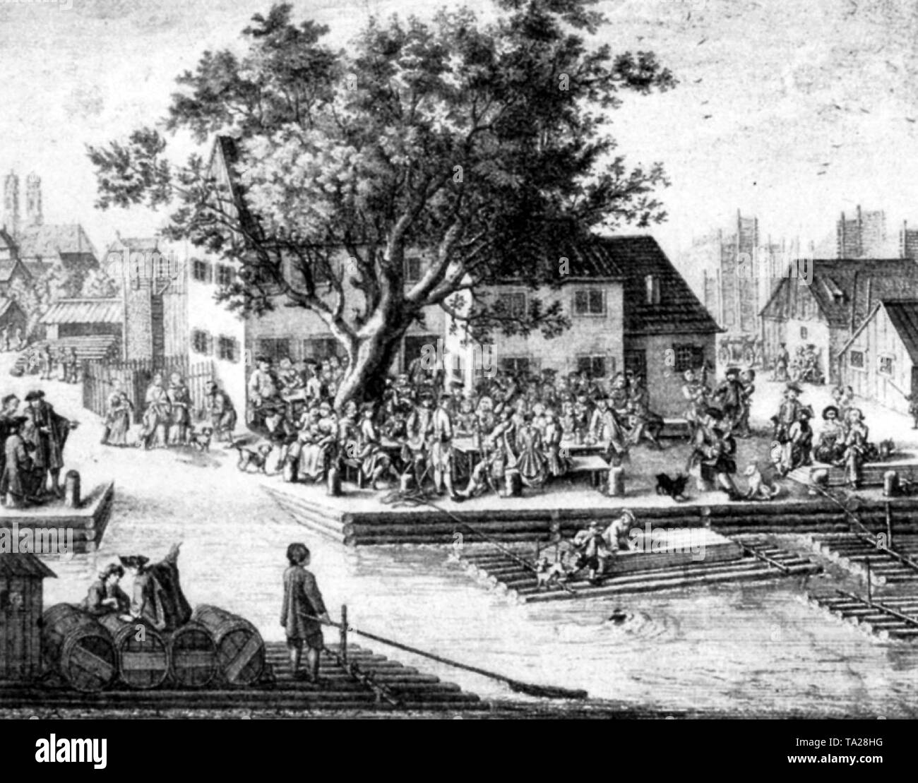 The restaurant 'Gruener Baum' (Green Tree) on the Isar in Munich. Engraving from 1767. - Stock Image