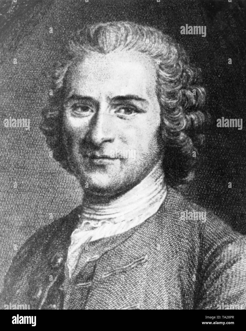 Portrait of Genevan philosopher Jean-Jacques Rousseau, circa 1750 - Stock Image