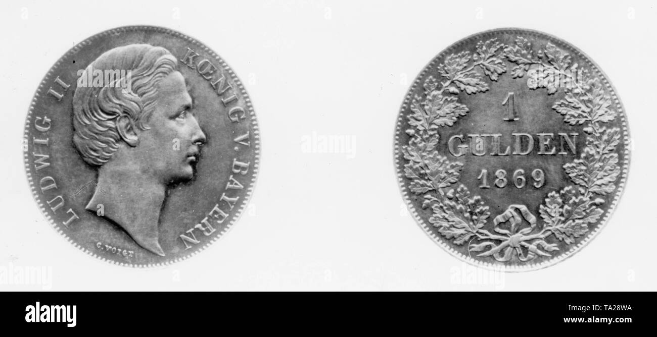 A silver florins with the profile portrait of the Bavarian King Ludwig II from 1869 - Stock Image