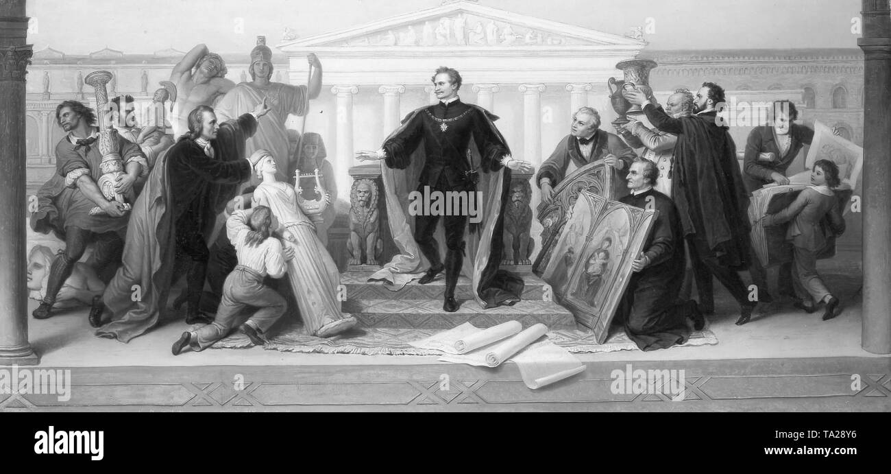 King Ludwig I of Bavaria surrounded by Scholars and Artists painting by Wilhelm von Kaulbach - Stock Image