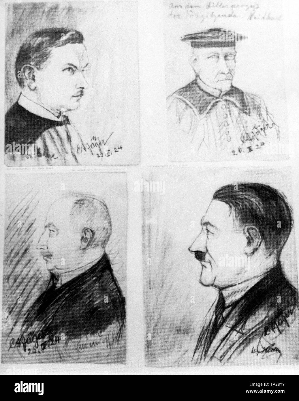 Trial of Adolf Hitler, who was charged with high treason due to his coup attempt in November 1923. Drawing of the main participants: Attorney and Prosecutor Hans Ehard (top left), the chairman of the court, state court director Georg Neithardt (top right), the accused General Erich Ludendorff (bottom left) and Adolf Hitler (bottom right). Stock Photo