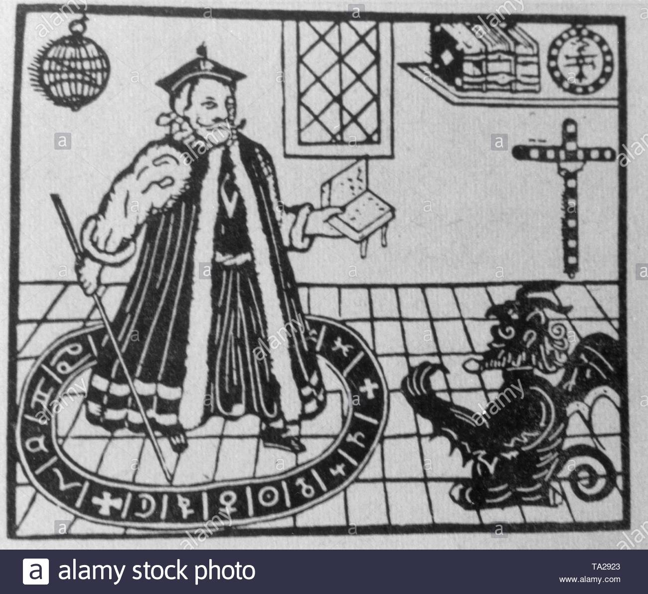 Doctor Faust, standing in the magic circle, summons the devil. Woodcut from the 16th century. - Stock Image