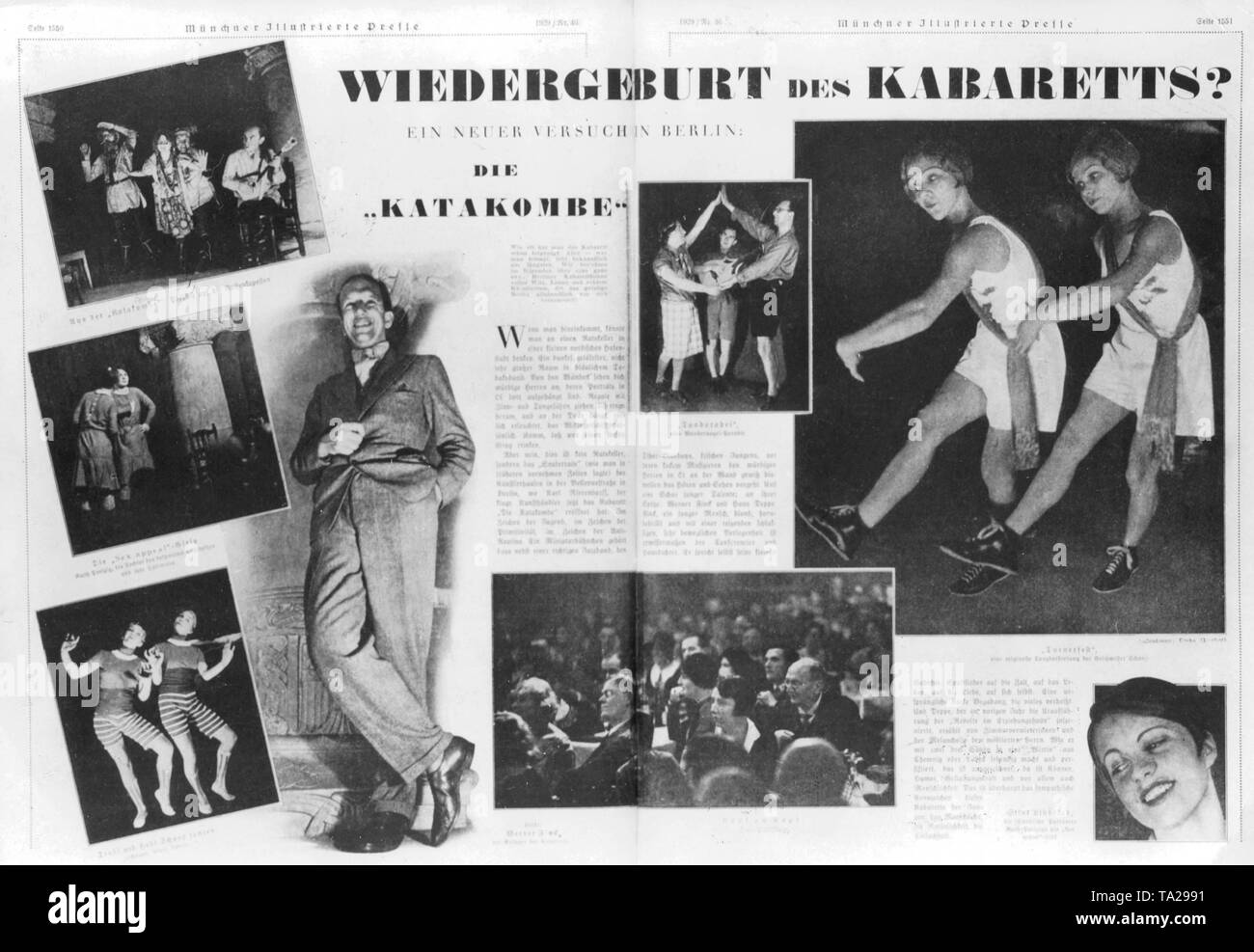 Report in the Muenchner Illustrierte Presse about the legendary Berlin cabaret 'Die Katakombe' (The Catacombs), that was associated with the name of Werner Finck until its closure in the Third Reich. - Stock Image