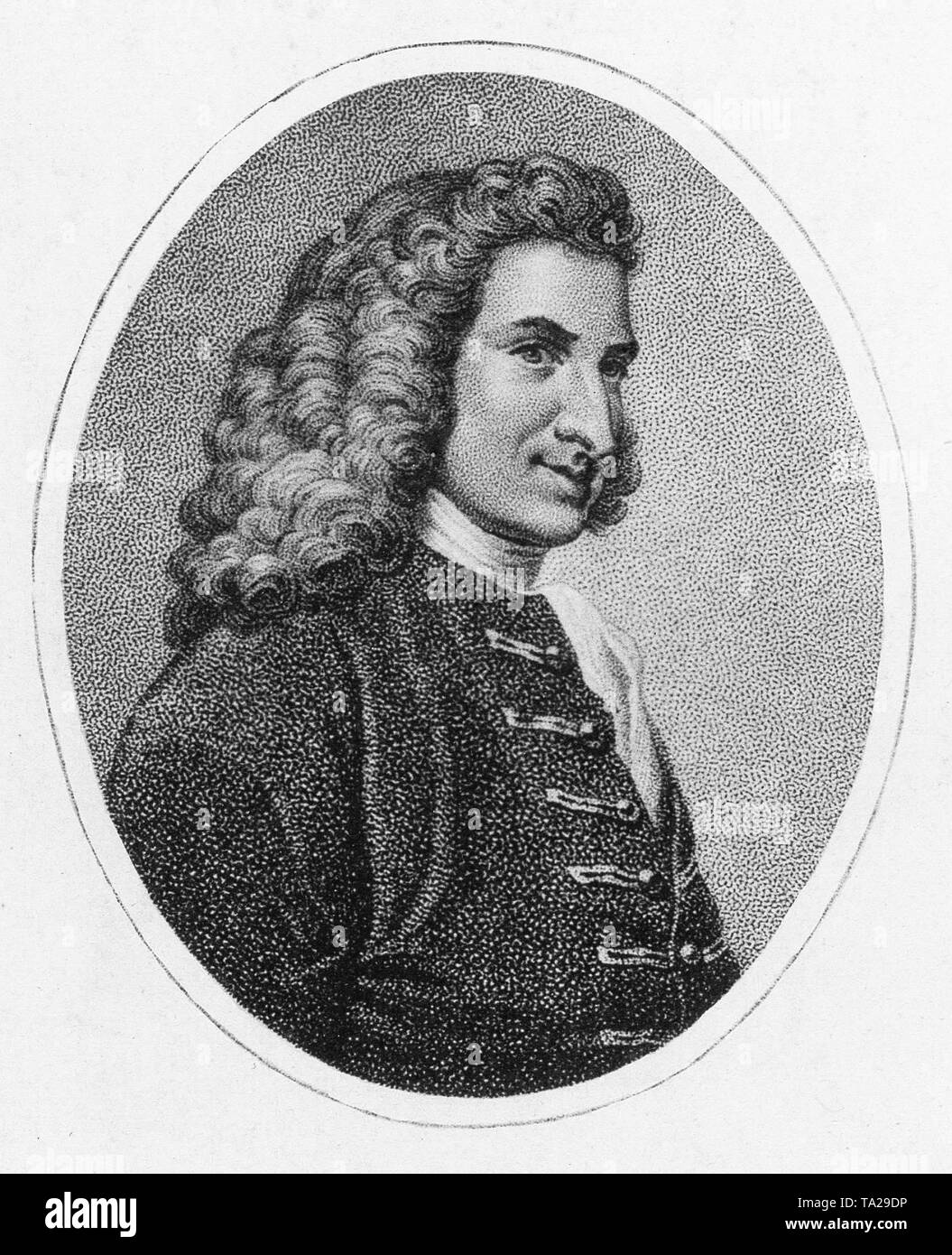 Portrait of English novelist Henry Fielding, circa 1750 - Stock Image