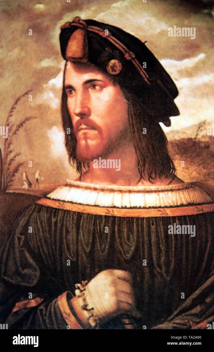 Portrait of Cesare Borgia, illegitimate son of Pope Alexander VI, circa 1500 - Stock Image