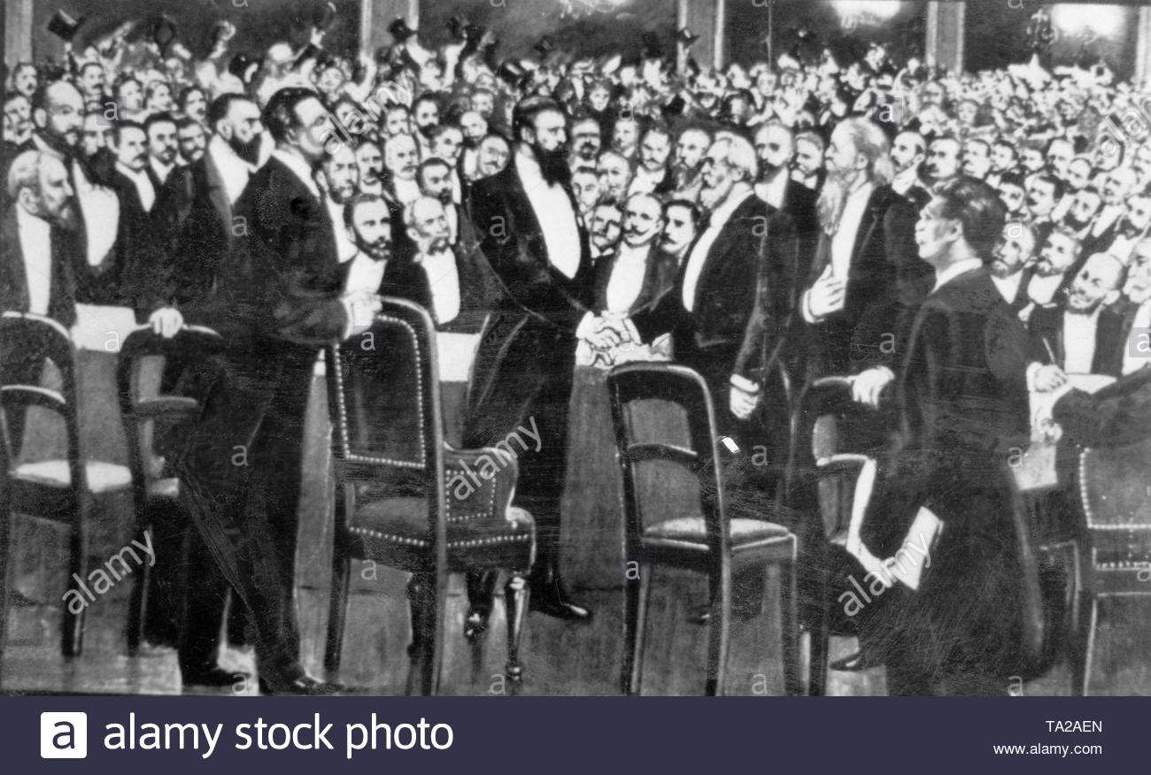 Presentation of the first Zionist Congress in Basel. In the middle of the picture, Theodor Herzl. - Stock Image