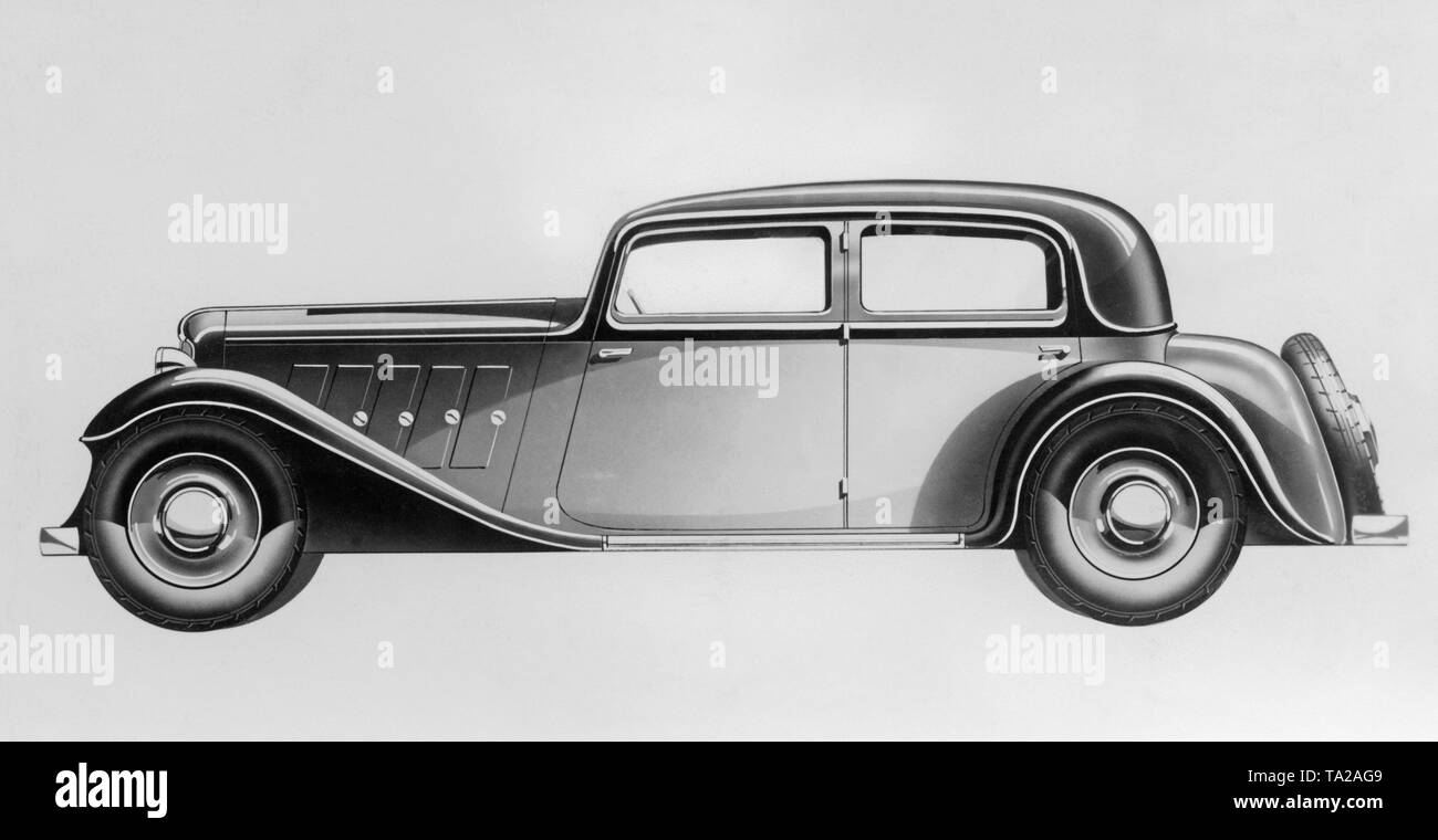 Side view of an Adler Standard 6 saloon with step box frame. - Stock Image