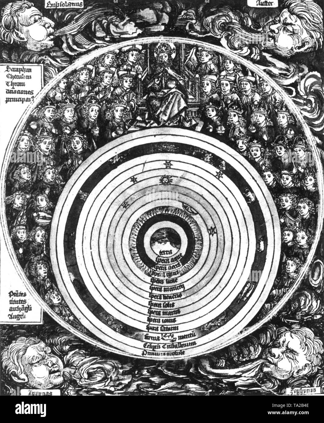 The world system of ancient astronomer Ptolemy (around 150 AD.) The Earth rested in the center of the universe with the planets rotating around it, with the Sun in the middle. After a woodcut from the book of the chronicles of Hartmann Schedel, Nuremberg 1493 Stock Photo