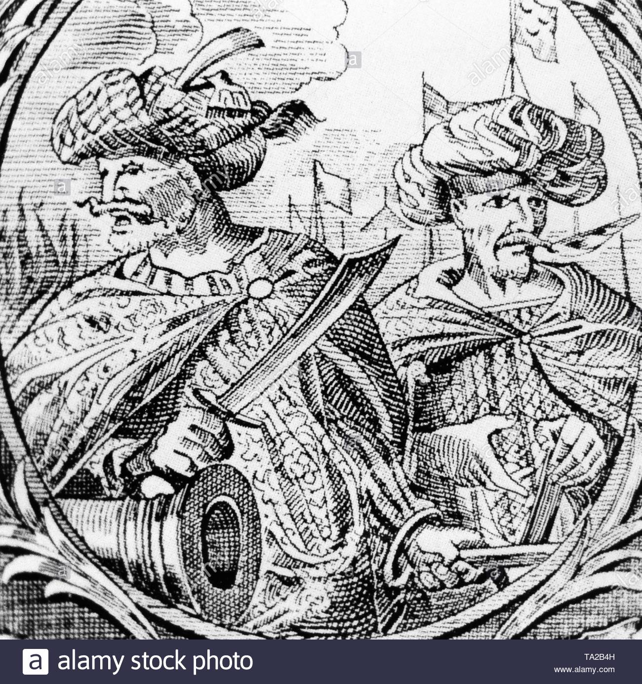 The pirates Horuk (Arudsch or Uruj, 1473-1518) and Chair al Din (also Cheireddin or Cheyreddin, 1467-1546). The two were also called the brothers Barbarossa. After an illustration from the 16th century. - Stock Image