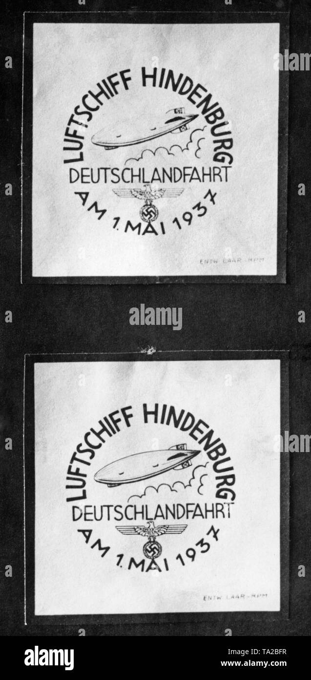 On the 'National Holiday' of May 1, 1937, letters and postcards could be sent by means of a special flight from Hindenburg. These got this special stamp. The flight of Hindenburg reached Berlin from Frankfurt am Main and back. - Stock Image