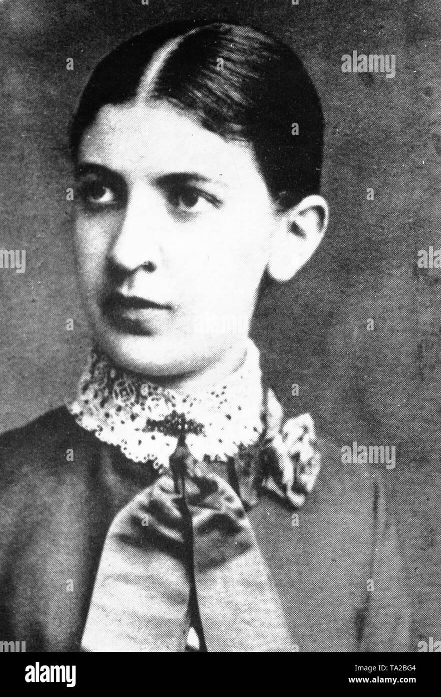 Portrait of Martha Freud (born Martha Bernays), wife of Sigmund Freud. - Stock Image
