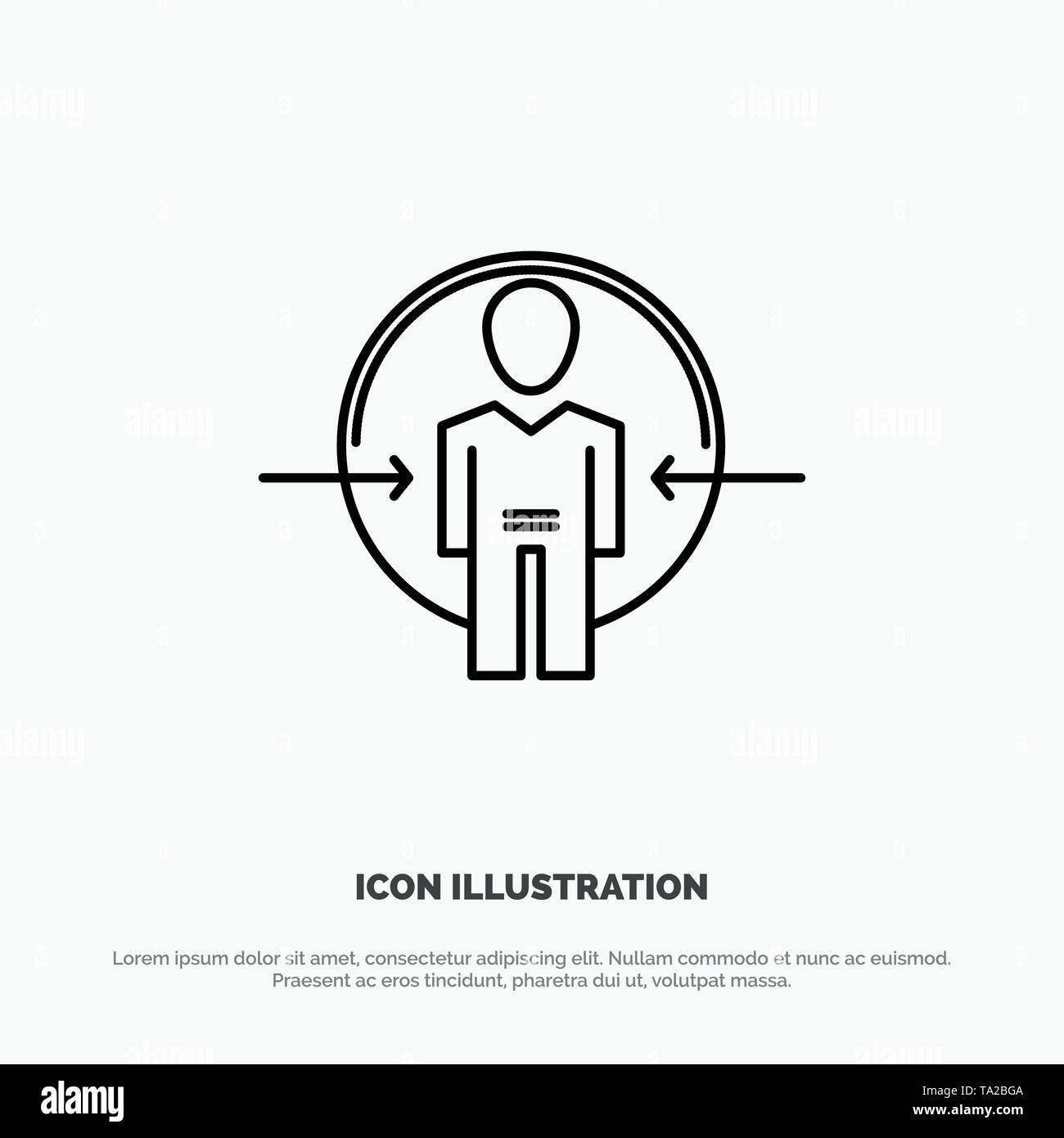 Man, User, Login, Id, Identity Line Icon Vector Stock Vector