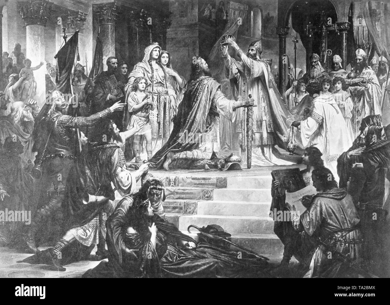 Charlemagne crowned Holy Roman Emperor by Pope Leo III on Christmas Day at Old St. Peter's Basilica in 800. - Stock Image