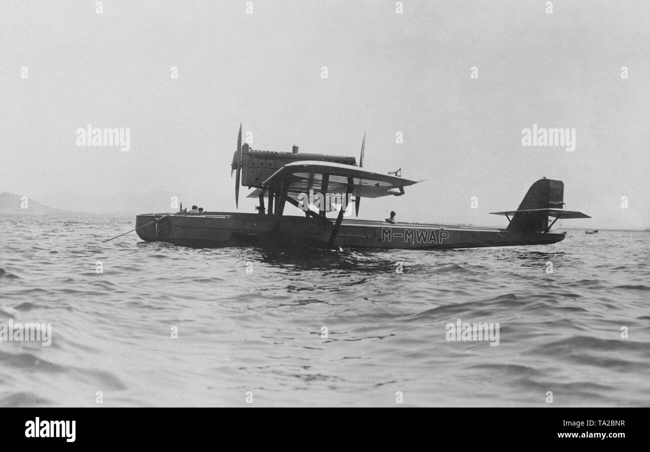The flying boat Wal 'Numancia' with the tail number M-Mwap before taking off for an Atlantic crossing. On June 22, 1929 the Spanish pilot Ramon Franco failed with the attempt to cross the Atlantic and was rescued seven days after the emergency water landing by the British aircraft carrier HMS Eagle. The photo was made shortly before takeoff. - Stock Image
