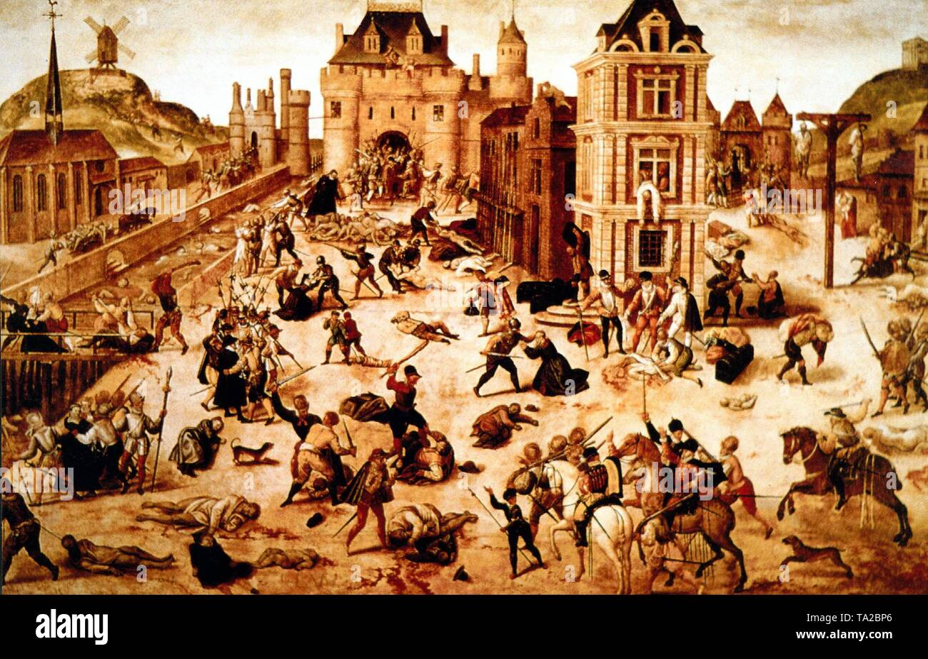 Painting of the St. Bartholomew's Day massacre (Paris Blood Wedding), on the night of 24.08. (St. Bartholomew's Day) in 1572 when Admiral G. de Coligny, among others leader of the Huguenots, was killed on the order of Catherine de Medici along with thousands of fellow believers who gathered to celebrate the wedding of the Protestant Henry of Navarre (later Henry IV of France) with Margaret of Valois in Paris. Stock Photo