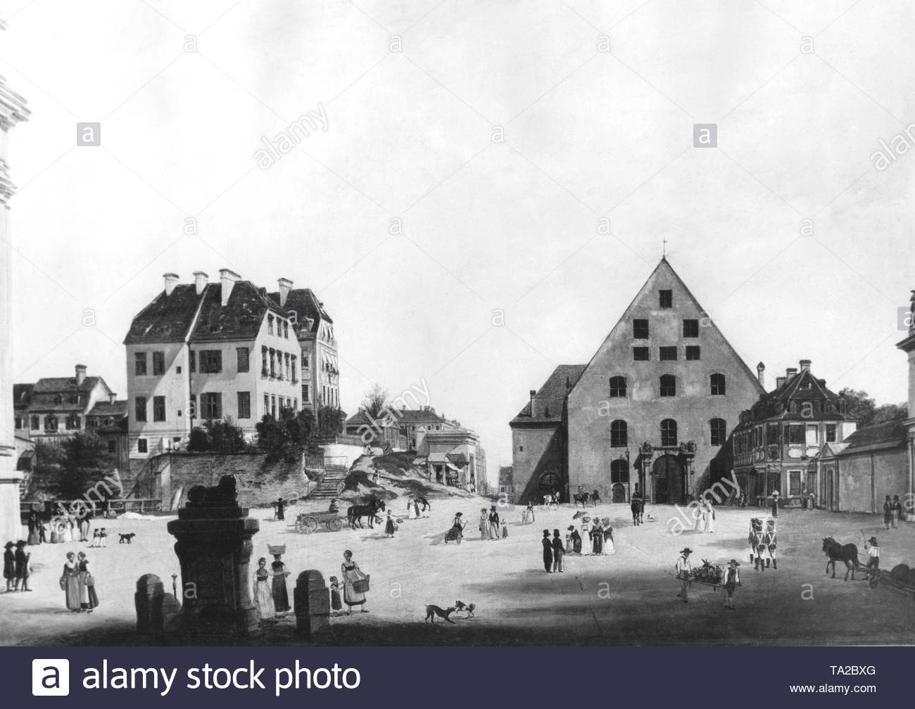 The Odeonsplatz before the reconstruction by Leo von Klenze 1827. - Stock Image