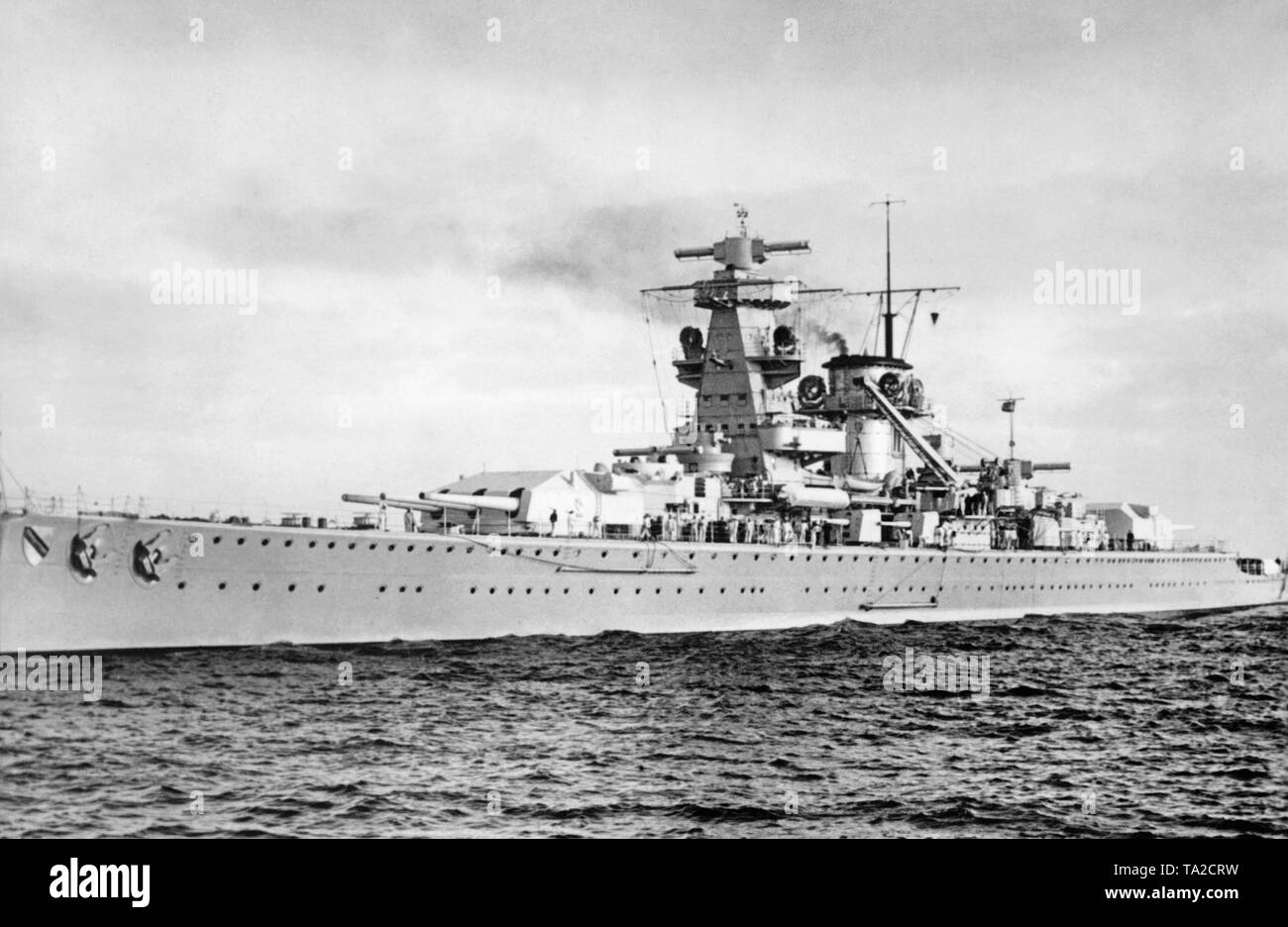 In the autumn of 1940 the German cruiser Deutschland was renamed Luetzow (after Prussian General Adolf von Luetzow) and reclassified as a heavy cruiser. It took part in the occupation of Norway in April 1940 after a general overhaul at the Gdansk shipyard. The bridge and the superstructures were completely redesigned. - Stock Image