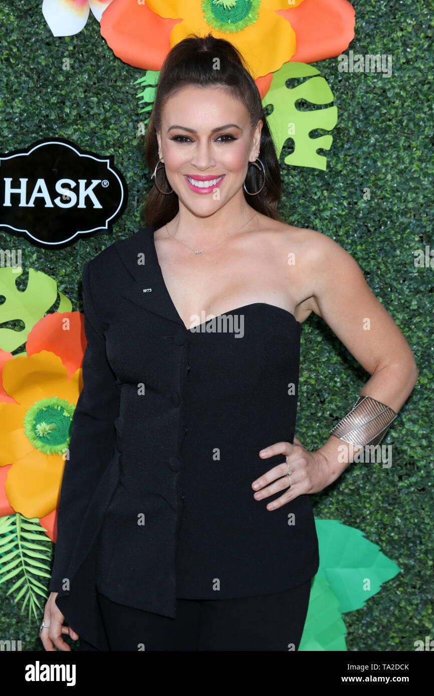 May 20, 2019 - Westwood, CA, USA - LOS ANGELES - MAY 20:  Alyssa Milano at the Lifetime TV Summer Luau at the W Hotel on May 20, 2019 in Westwood, CA (Credit Image: © Kay Blake/ZUMA Wire) - Stock Image