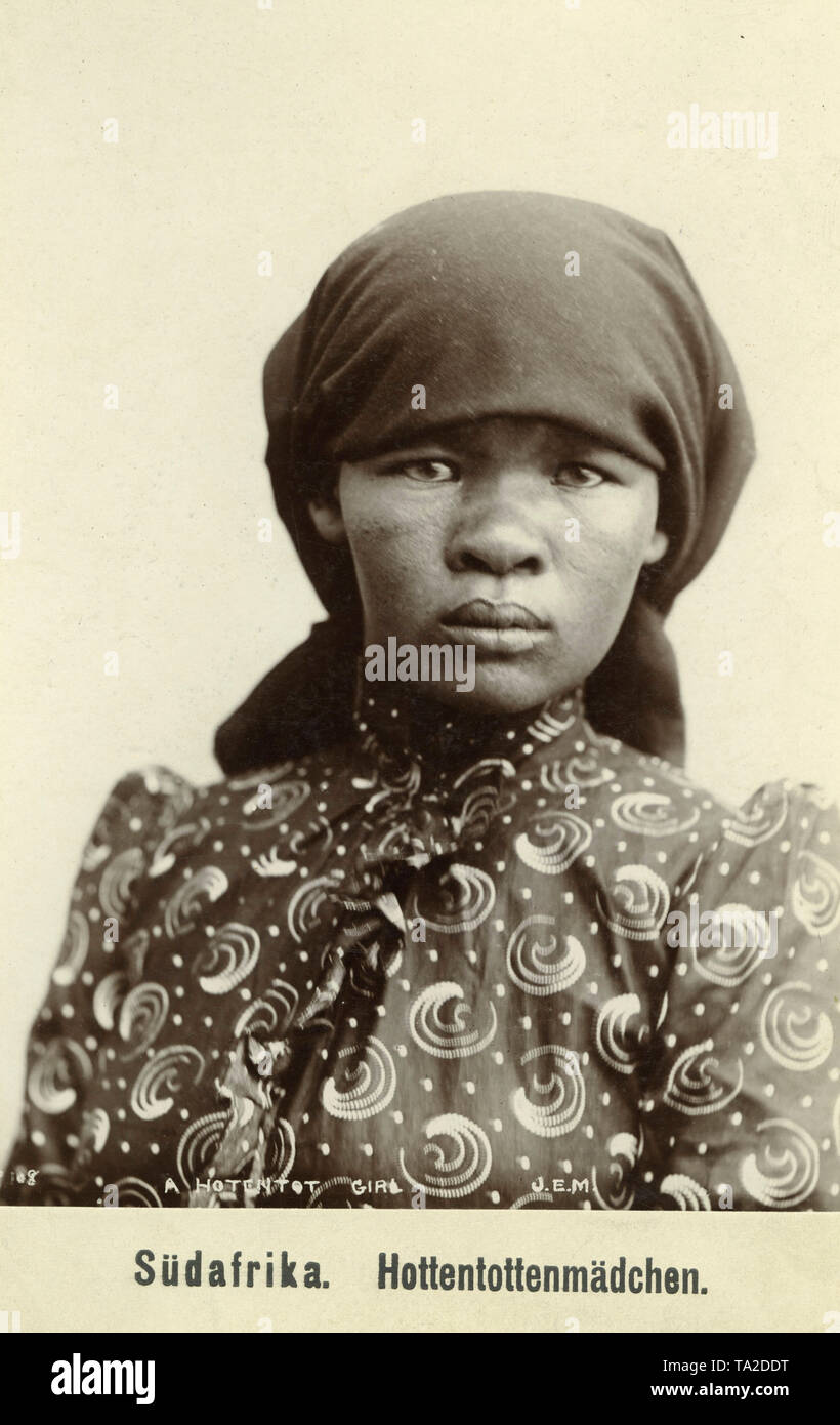 Hottentot woman in European clothes and headscarf (undated shot). - Stock Image