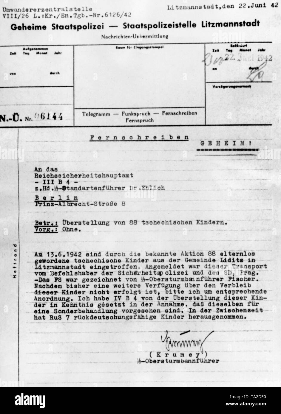 Letter of the Gestapo to the Reich Main Security Office. The letter is about the children of Lidice. The children were taken to a concentration camp. Seven children were classified as capable of being re-germanified, and were taken to a Lebensborn home. In the course of the successful Operation Anthropoid, it came to retaliation against the Czech population. The Czech village Lidice was completely destroyed by the German Wehrmacht on June 10, 1942. The men were shot dead, and the women and children were brought to concentration camps. Stock Photo