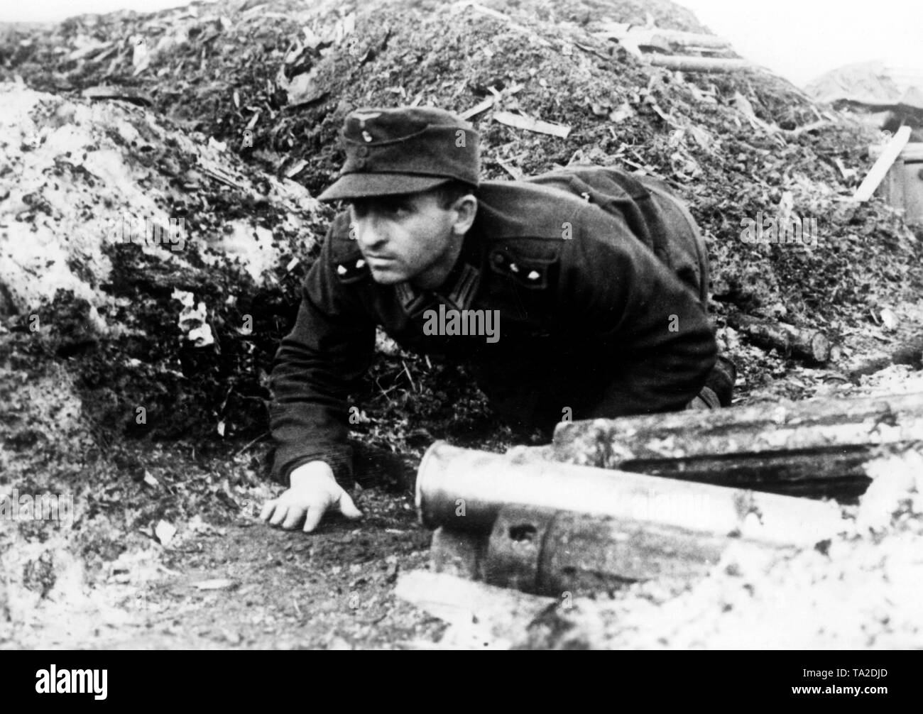 A soldier of the Wehrmacht crawls slowly forward on a hill south of Lake Ladoga. Photo of the Propaganda Company (PK): war correspondent Ebert. - Stock Image