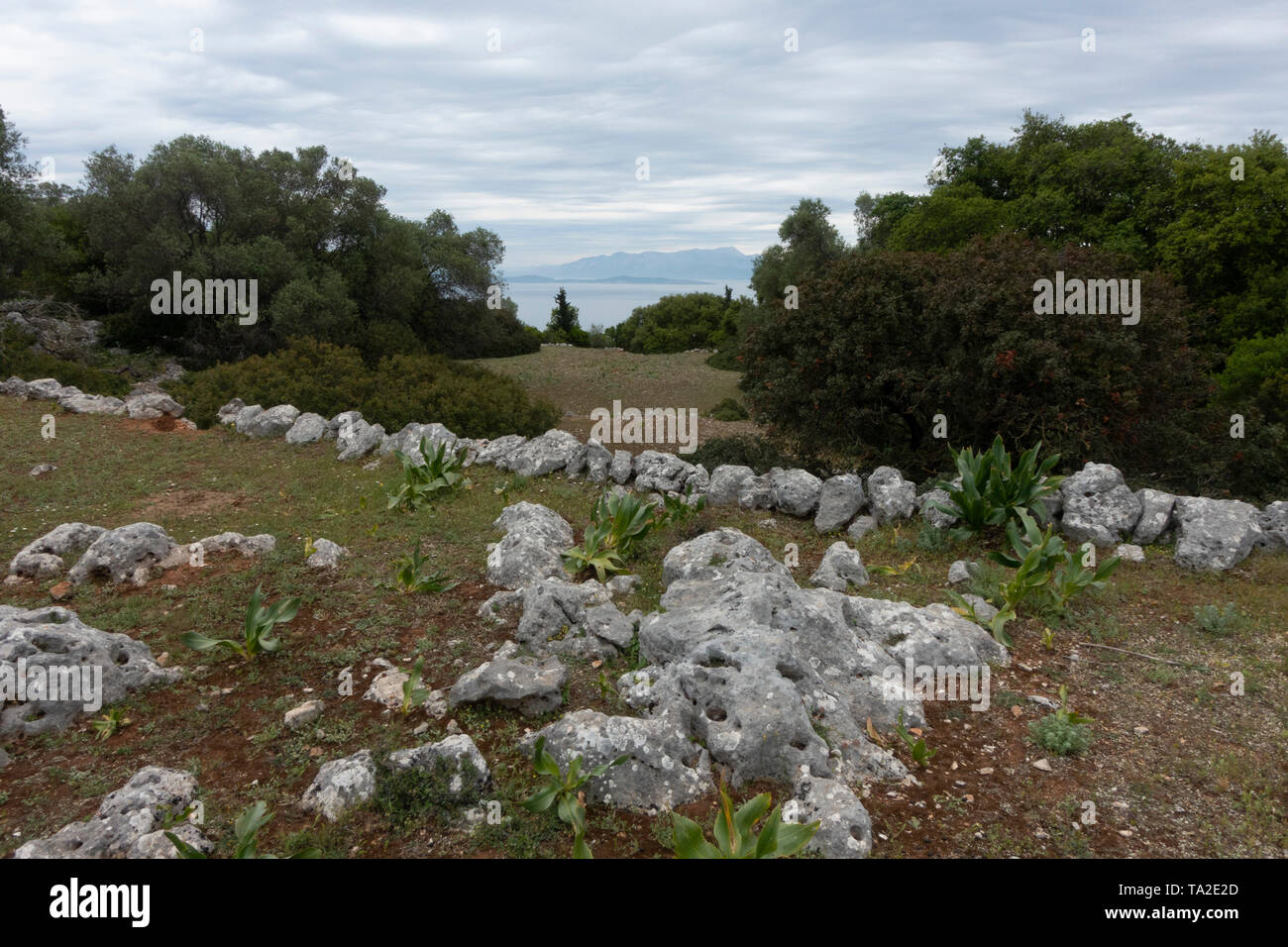 Ancient settlement site near Kioni, Ithaca, Greece. Ithaca, Ithaki or Ithaka is a Greek island located in the Ionian Sea to the west of continental Greece. Ithacas main island has an area of 96 square kilometres. It is the second-smallest of seven main Ionian Islands. - Stock Image