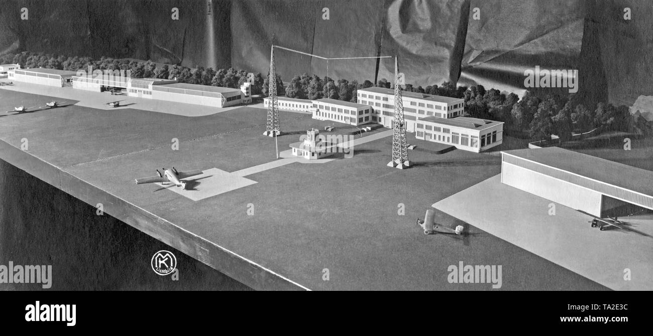 Model of the apron systems of the Berlin-Tempelhof Airport. - Stock Image