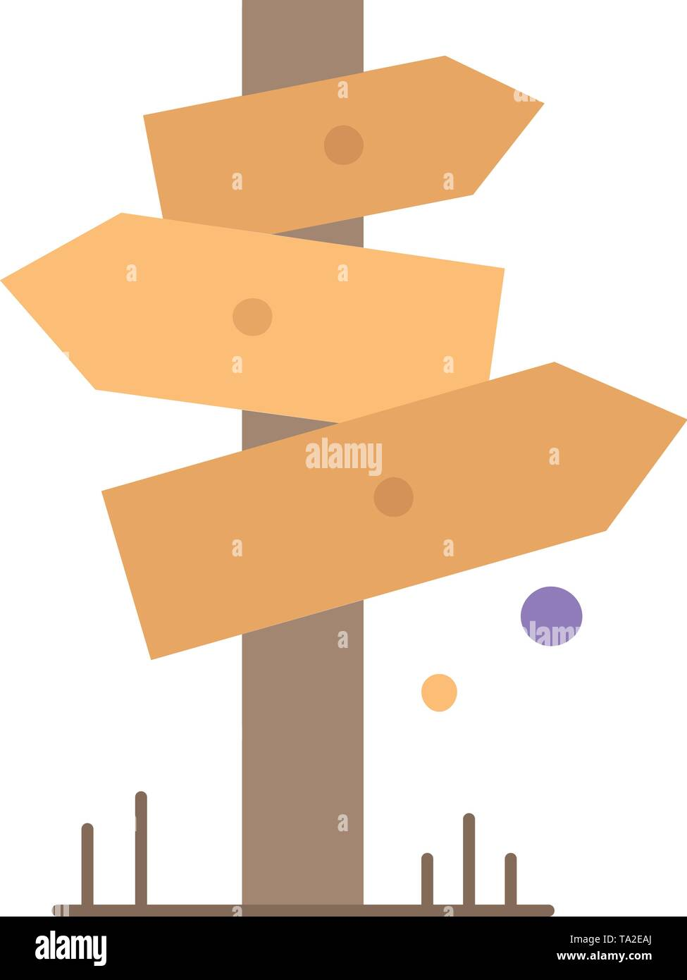 Direction, Board, Camping, Sign, label Flat Color Icon Vector - Stock Image