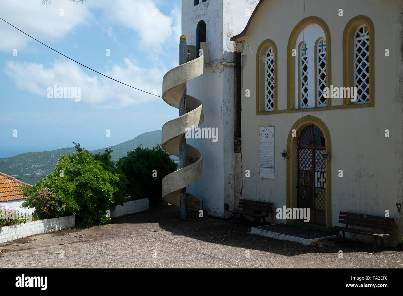 Abandoned church in Exogi, Ithaca, Greece. Ithaca, Ithaki or Ithaka is a Greek island located in the Ionian Sea to the west of continental Greece. Ithacas main island has an area of 96 square kilometres. It is the second-smallest of seven main Ionian Islands. - Stock Image